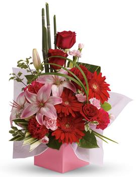 Code: A45. Name: Artistic Expression. Description: The art of love. Take their breath away with this uniquely sculptural arrangement of lilies, gerberas and canes of bamboo-like equisetum. Price: GBP £78.38