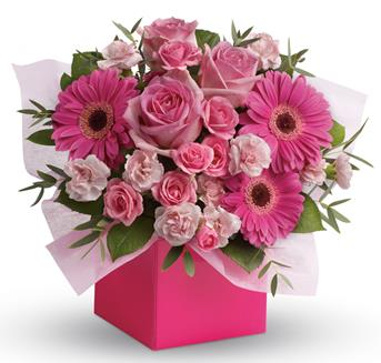 Code: A46. Name: Think Pink. Description: Looking to pamper someone special? Think pink! Hot pink gerbera mix with soft pink roses and mini carnations in this fabulously fun arrangement. Price: GBP £57.48