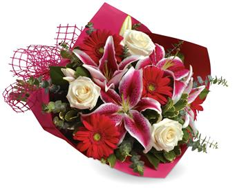 Code: B26. Name: Stolen Kisses. Description: Show someone how much you love them with this gorgeous bouquet of lilies, roses and gerberas. Price: GBP £54.34