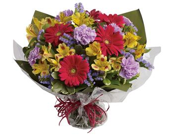 Code: B46. Name: Sweet Surprise. Description: Unexpected gifts are the best gifts! Send one they will never forget with this sweet bouquet of hot pink, yellow and purple blooms. Price: GBP £78.38